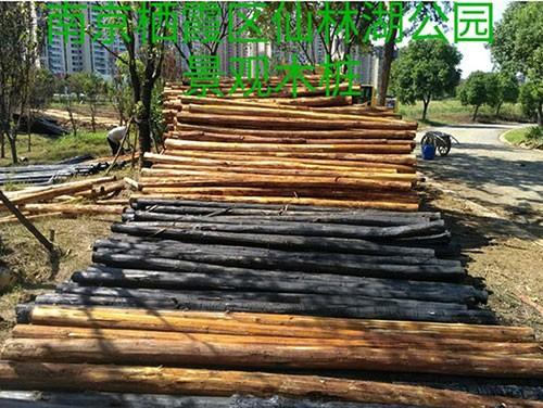 南京栖霞区仙林湖公园景观木桩