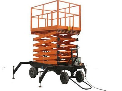 Traction lifting hydraulic platform