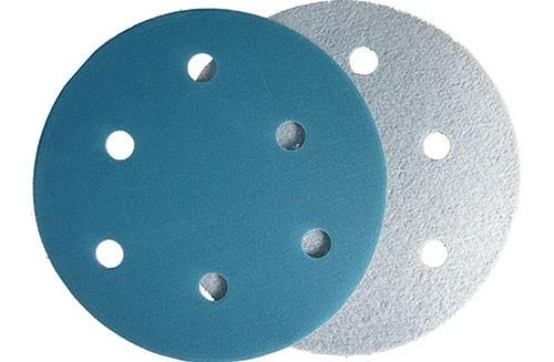 5寸6孔蓝色背绒圆盘-氧化铝-320#