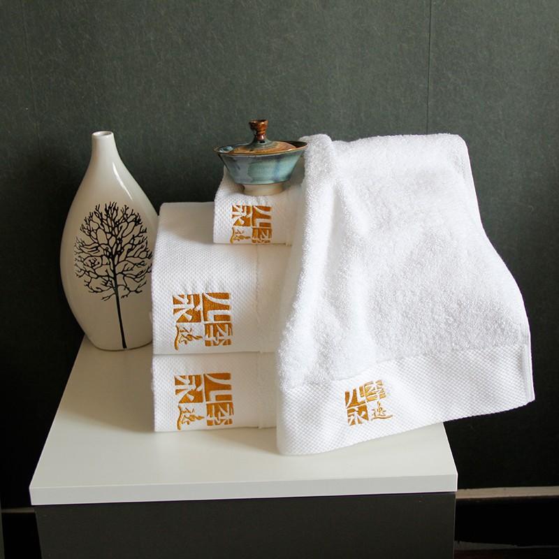 酒店绣花毛巾浴巾定制